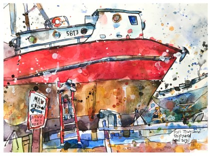 watercolor of ship repair in shipyard in Port Townsend by Emily Weil