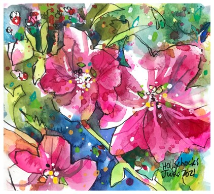 watercolor painting of hollyhocks by emily weil