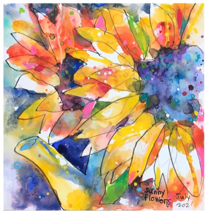 watercolor painting of sunflowers by emily weil