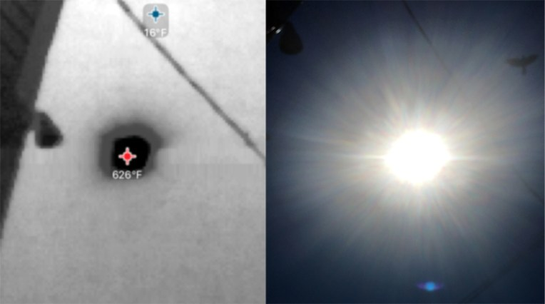 Two images of the noonday sun above 47th Street, Oakland, CA. Left: Seek Thermal camera image. Right: iPhone. 2016