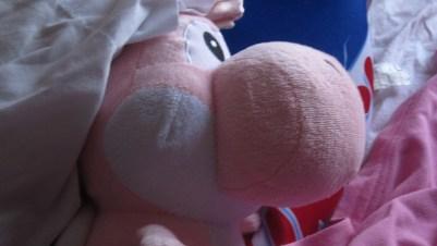 A pink yoshi toy nearby a crunch bar pillow