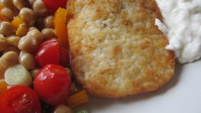 Chickpea and Tomato salad, a hash brown and cottage cheese