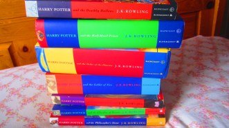 All of the Harry Potter novels stacked on top of each other