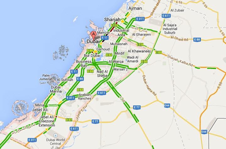 UAE road traffic live on Google Map,Google Maps UAE live traffic