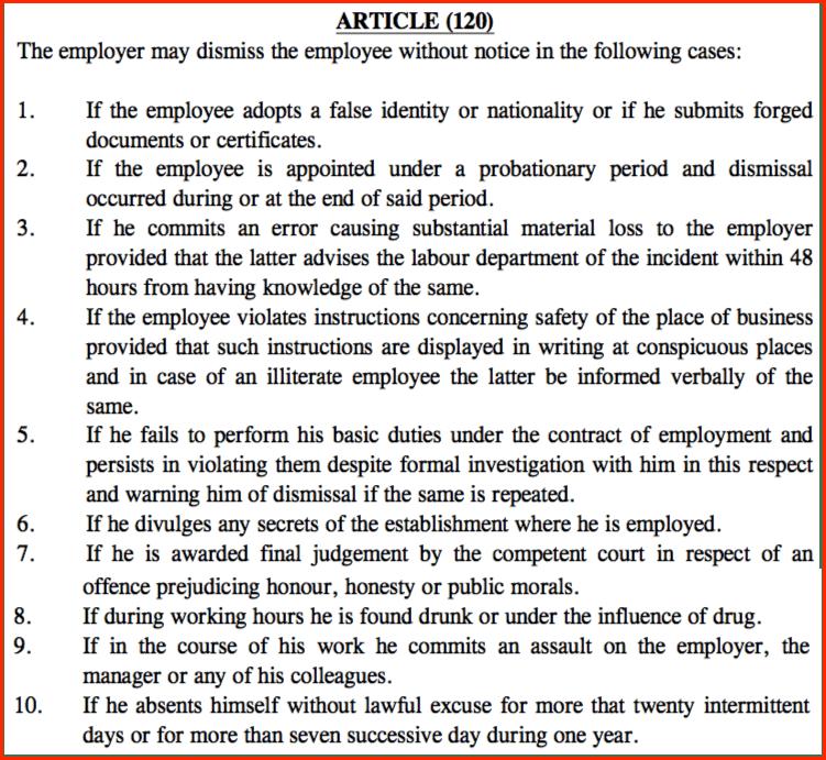 termination uae labor law 2016