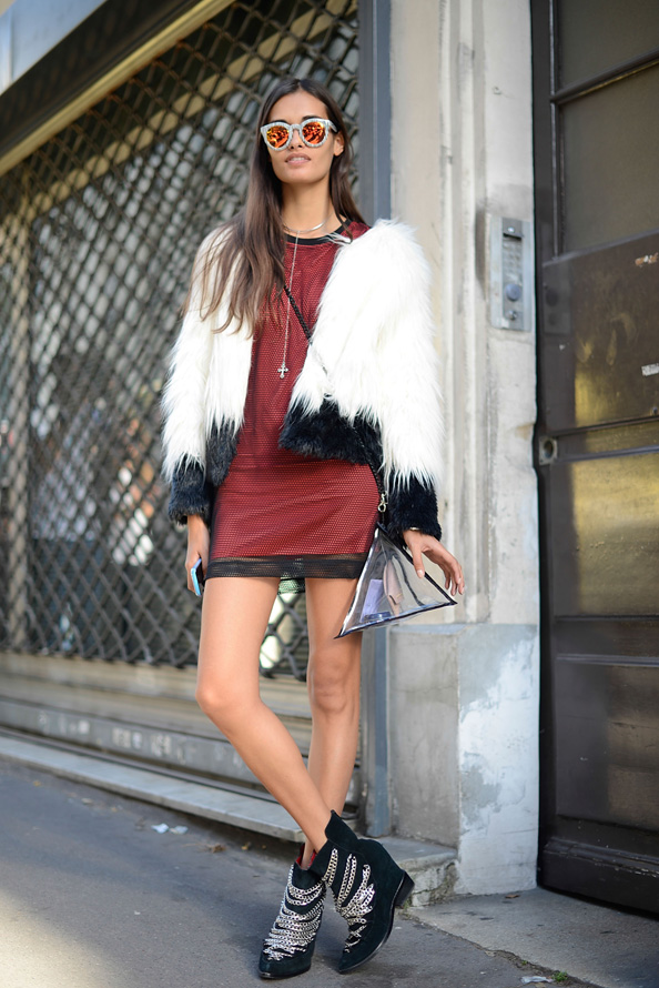 Futuristic chic: Gizele Oliveira wears an Urban Outfitters coat, Topshop dress and Jeffrey Campbell shoes.