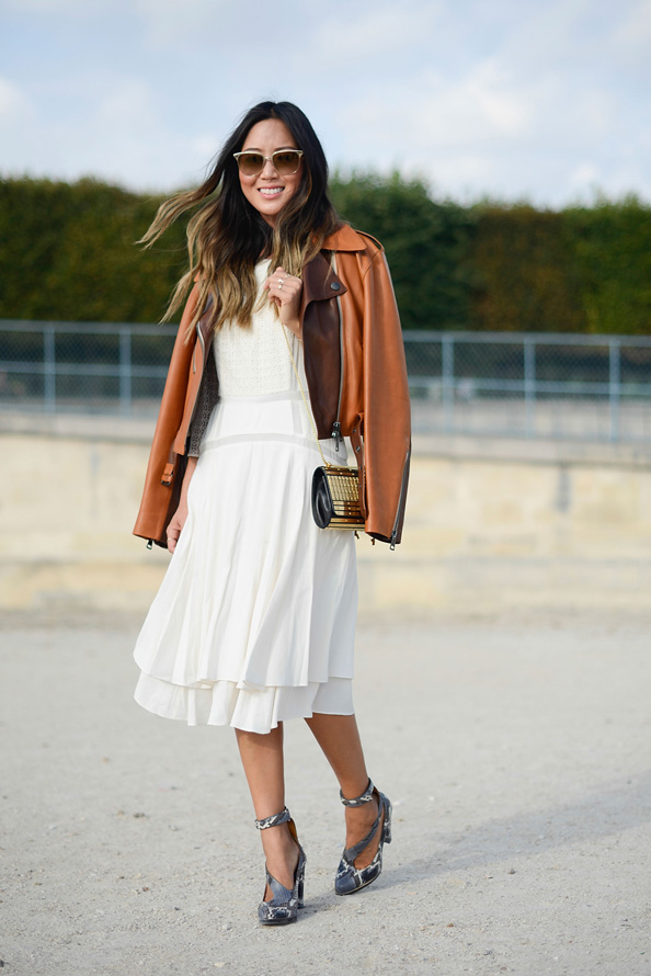 Fashion blogger Aimee Song wears a Chloe jacket and shoes, Rebecca Taylor dress and Elie Saab bag.