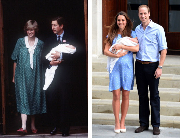 A comparison between: On the left: Prince Charles and Princess Diana with newborn son Prince William. On the right: Prince William and Kate Middleton with newborn son Prince George both leaving the Lindo Wing of St Mary's hospital