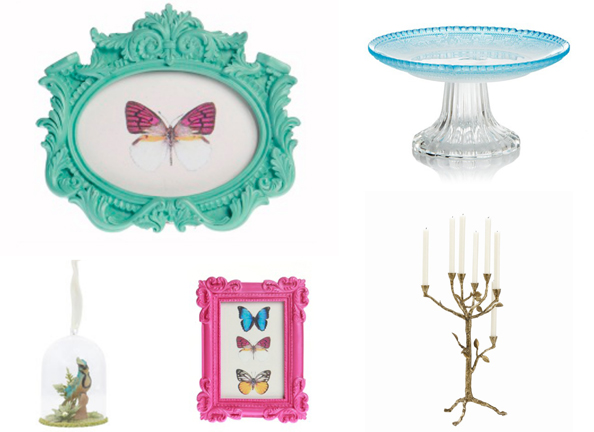 Clockwise: Picture frames Dhs30 each sassandbelle.co.uk, Cake stand Dhs79 Bloomingdale's, Candelabra Dhs1,950 Arteriors at Harvey Nichols-Dubai, Bluebird bauble Dhs115 liberty.co.uk