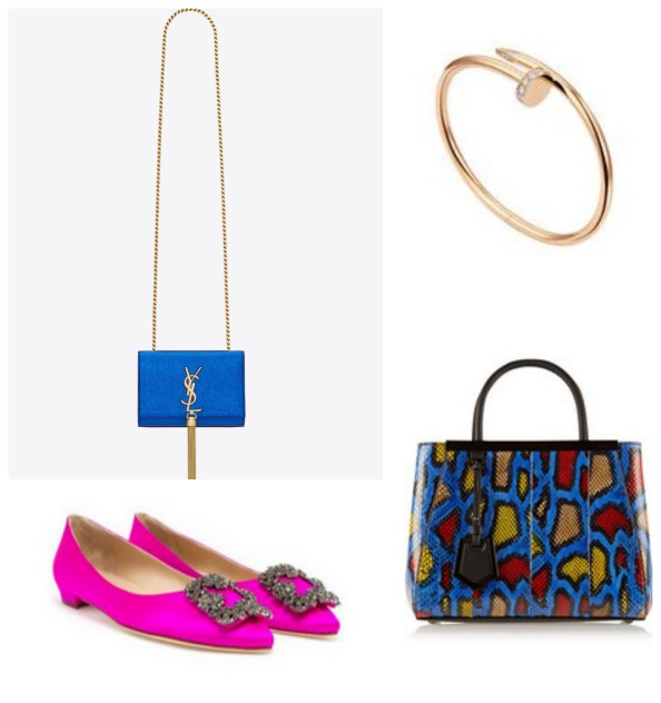 Clockwise: Flats Dhs3,570 Manolo Blahnik; Bag Dhs8,800 Saint Laurent; Ring Dhs66,700 Wendy Yue at Harvey Nichols-Dubai; Bag Dhs17,240 Fendi at net-a-porter.com
