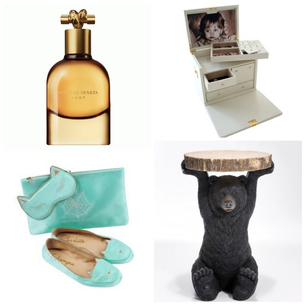 Clockwise: Sleep travel set Dhs2,245 Charlotte Olympia; Knot perfume Dhs525 for 75ml Bottega Veneta; Personalised Ultimate jewellery box POA Anya Hindmarch; Bear side table Dhs970 bouf.com
