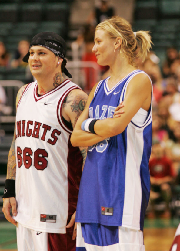 Cameron Diaz and Benji Madden as friends at a celebrity charity basketball game in 2004
