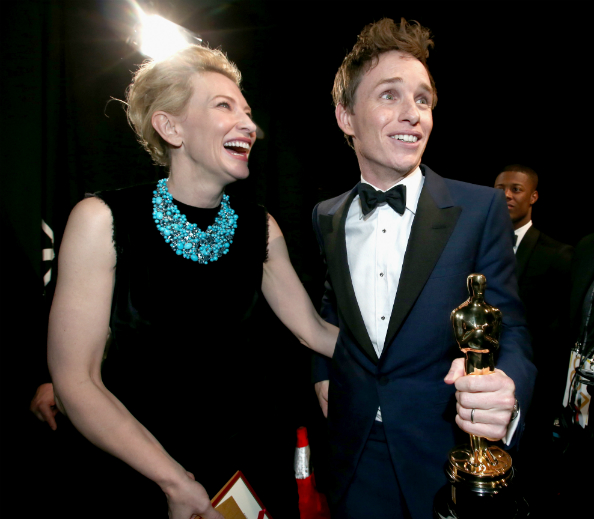 Eddie Remayne is shocked to win the Best Actor Oscar, which was presented to him by Cate Blanchett