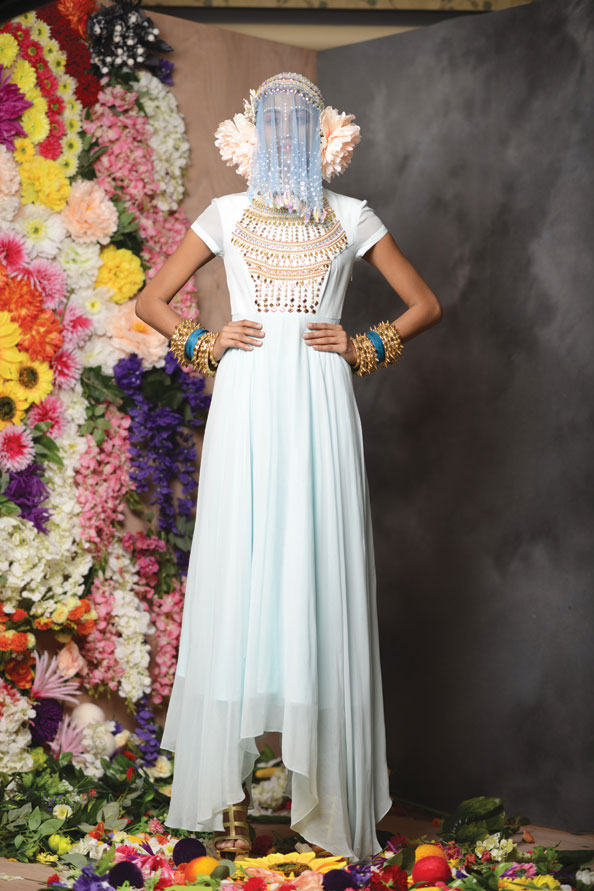 Dress with embellishment and headpiece