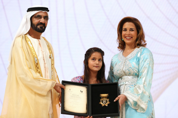 Sheikh Mohammed Bin Rashid Al Maktoum presents Princess Haya with the Local Sports Personality award