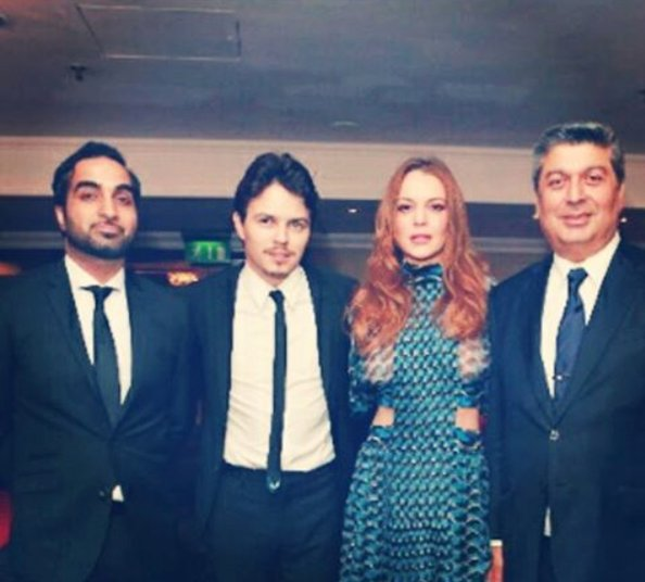 Lindsay Lohan with her beau Egor Tarabasov (middle left)