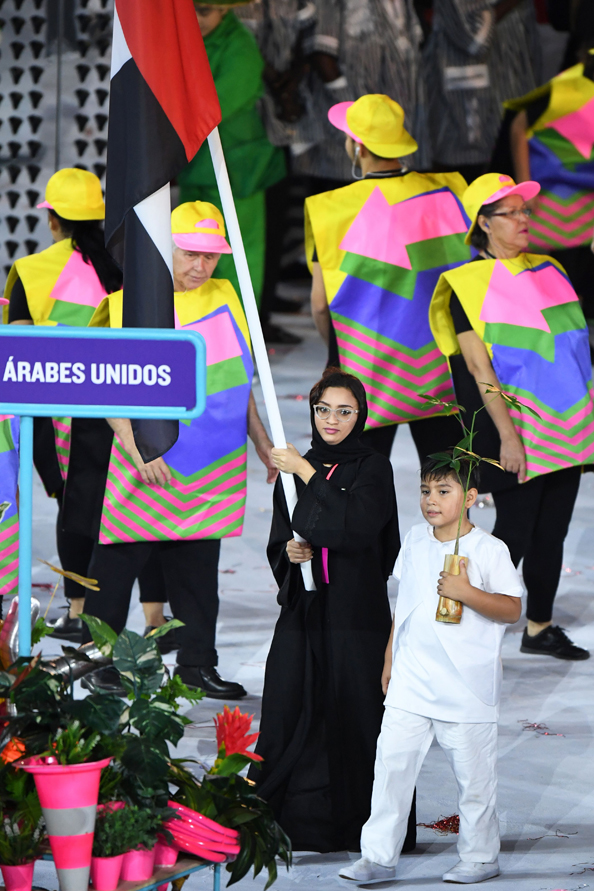 United Arab Emirates's flagbearer Nada Al Bedwawi leads her delegation during the opening ceremony of the Rio 2016 Olympic Games