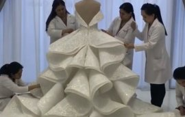The Work That Went Into Creating This Qatari Princess' Wedding Dress Is Next Level