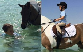 Little Sheikh Zayed And His Pony Sure Know How To Beat The Summer Heat…