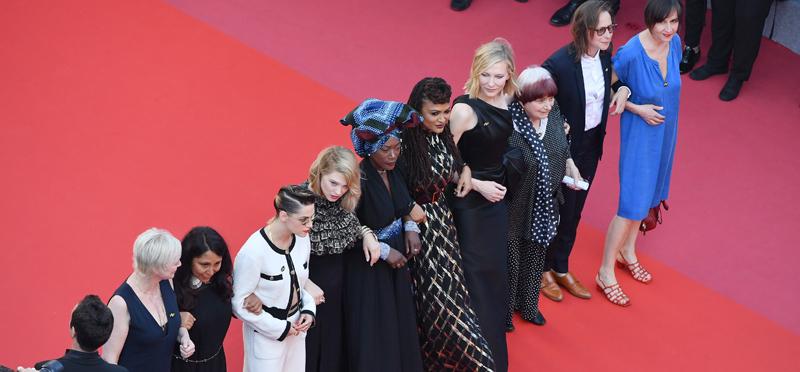 Marianne Slot, Haifaa al-Mansour, Kirsten Stewart, Lea Seydoux, Khadja Nin, Ava DuVernay, Cate Blanchett, Agnes Varda and Celine Sciamma and Jeanne Lapoirie walk the red carpet.