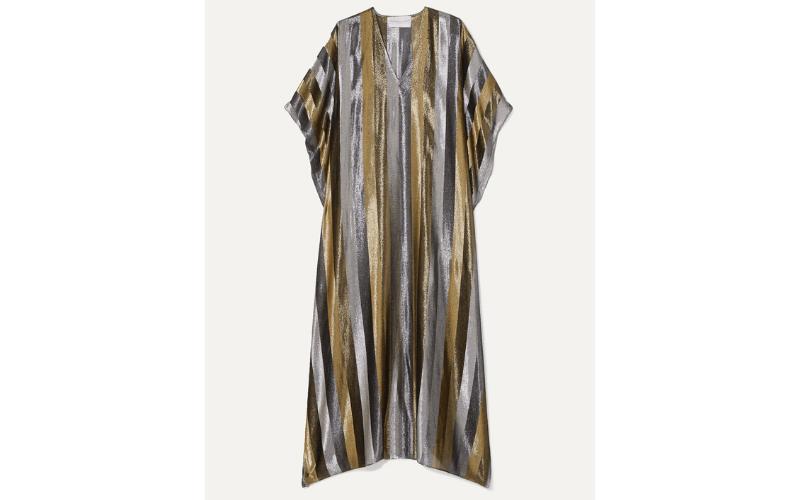 MARIE FRANCE VAN DAMME Striped silk-blend Lurex kaftan