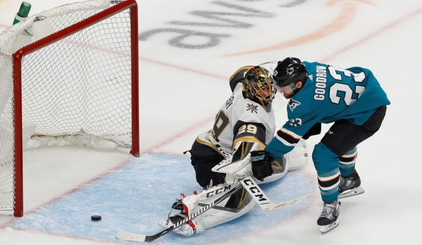 55a1ad63b Barclay Goodrow #23 of the San Jose Sharks scores the game-winning goal  against Marc-Andre Fleury #29 of the Vegas Golden Knights in overtime in  Game Seven ...