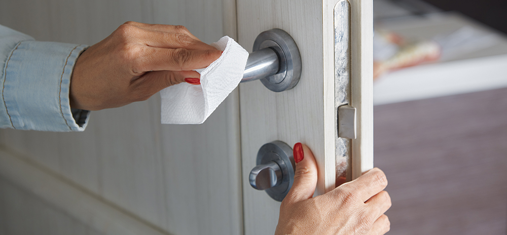 cleaning a door handle