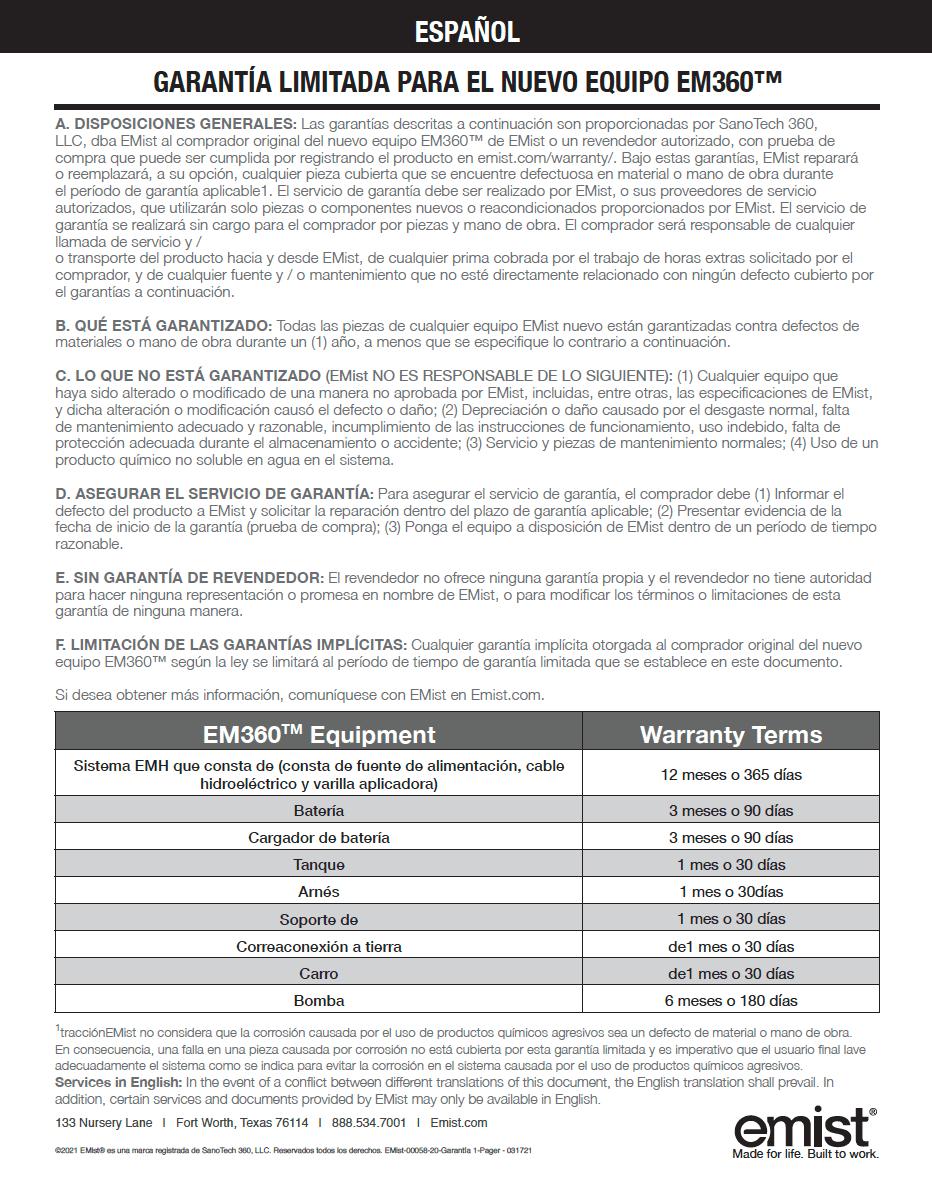 EM360 - Warranty - Spanish