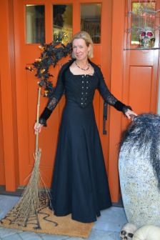 Commissioned Witch Gown - Wool, Velvet, and Lace - 7-piece fully-lined bodice, 10-piece fully-lined sleeves, and 7 gore skirt with godets - 2013. Draped & patterned from scratch