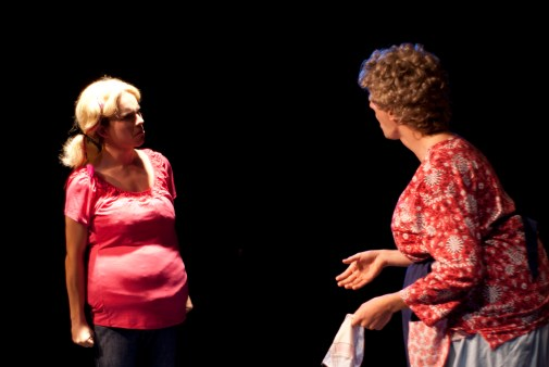 Charlene Bumiller (Nicholas Hemerling), wannabe-but-never-will-be Cheerleader, argues with her mother, Bertha (Nathaniel Rothrock)