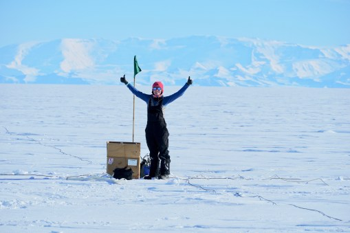 On relatively warm day Chloe celebrates finishing installing a MT station.