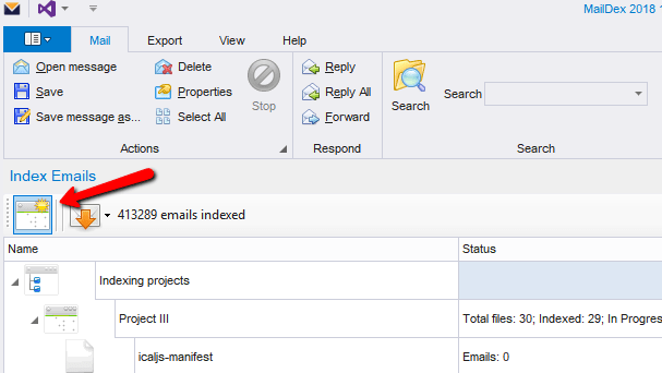 Screen shot showing location of MailDex 'create project' button.