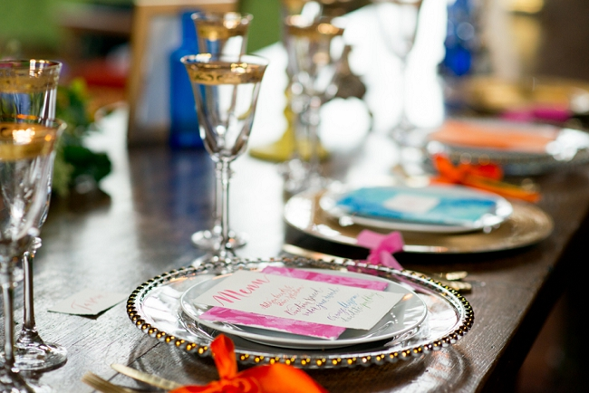 vibrant and bright fine art wedding table