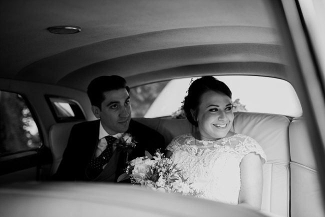 in the wedding car