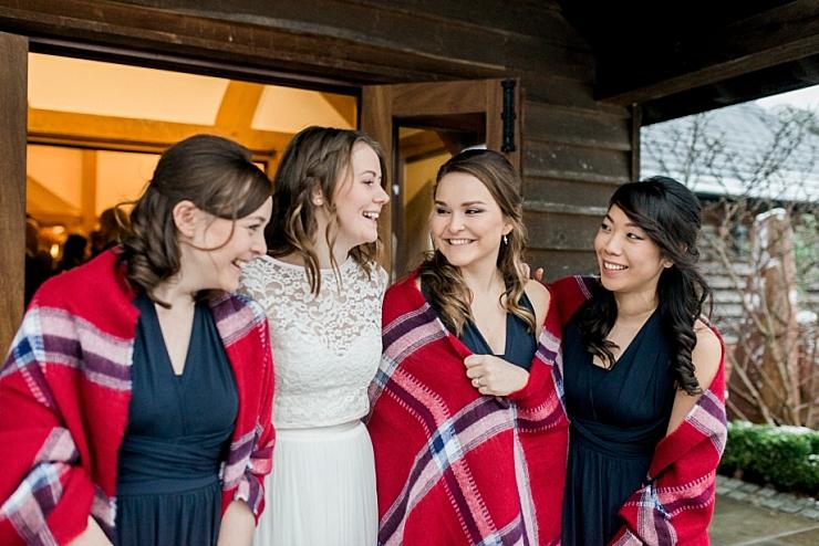 bride and bridesmaids in tartan