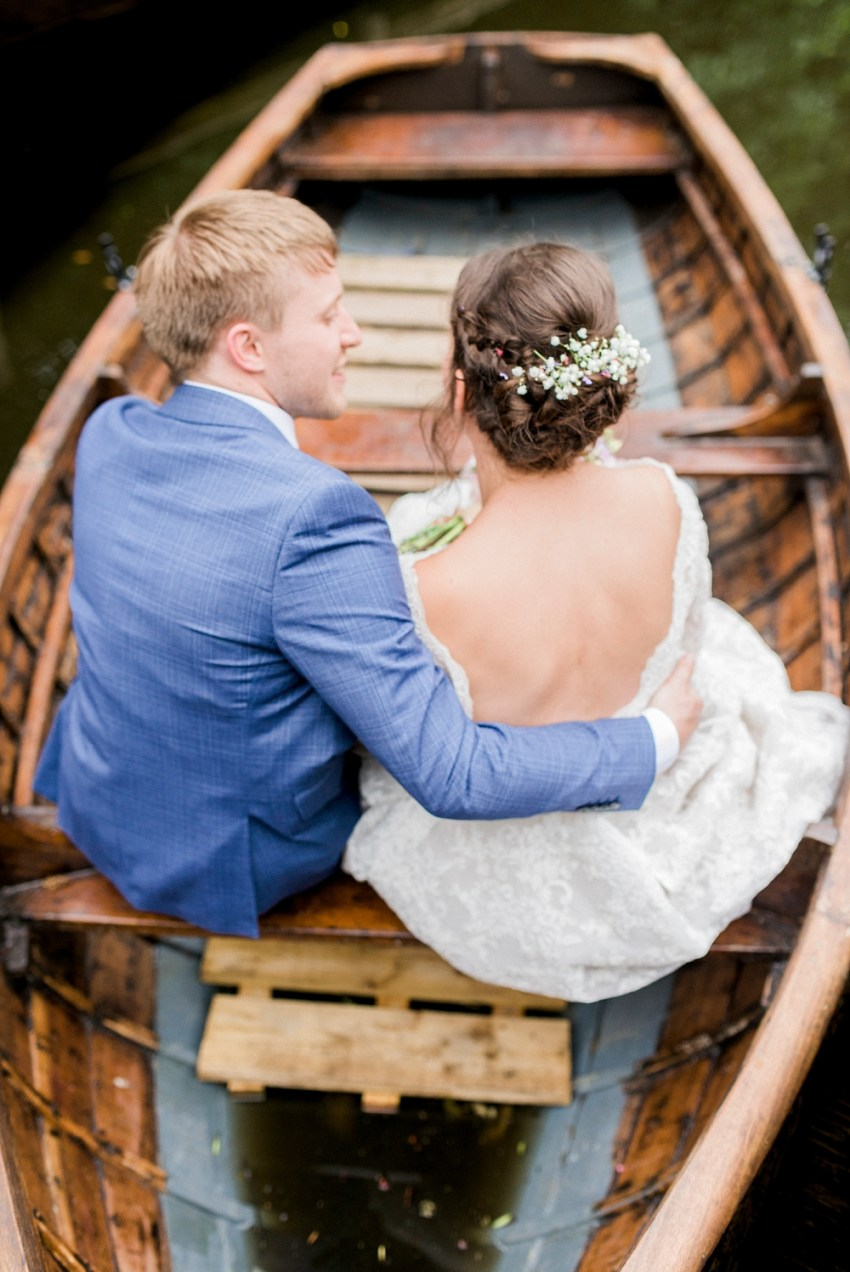 wyresdale park wedding bride and groom in a boat