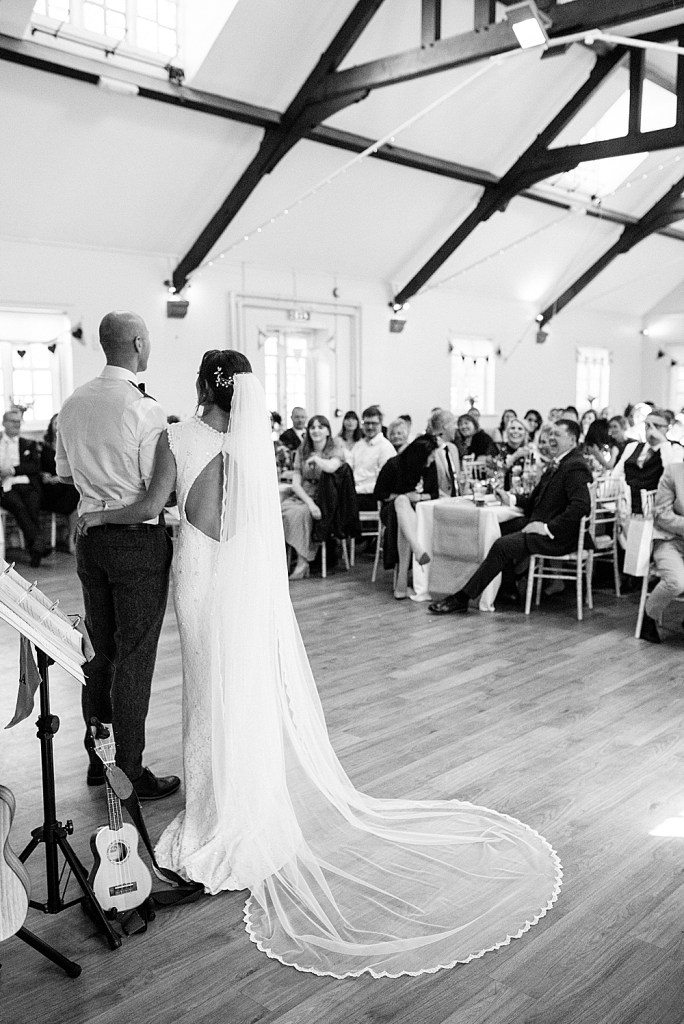Eccleston Village hall wedding with bride in preloved Amanda Wyatt dress