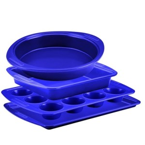 Silverstone 4 Piece Bakeware Set: Muffin, Cookie, Round & Square Cake Pans Blue