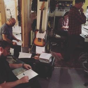 Recording studio meeting between takes