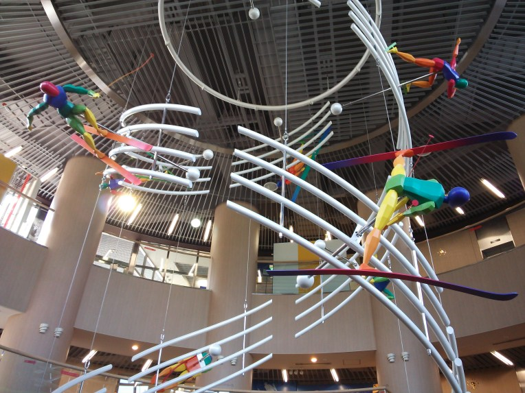 This amazing spiral display went through the middle of the whole museum, and showed a tonne of different winter sports.