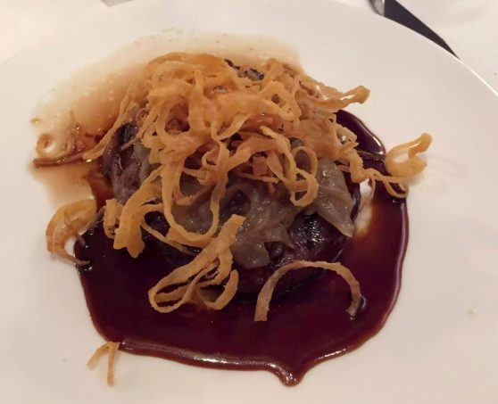 German Gymnasium D&D Kings Cross London Birthday Dinner Restaurant Steak Red Wine jus Crispy Onions