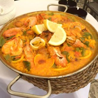 Madrid Sunshine Plaza Mayor Walking Birthday Seafood Paella Prawns El Soportal Lunch