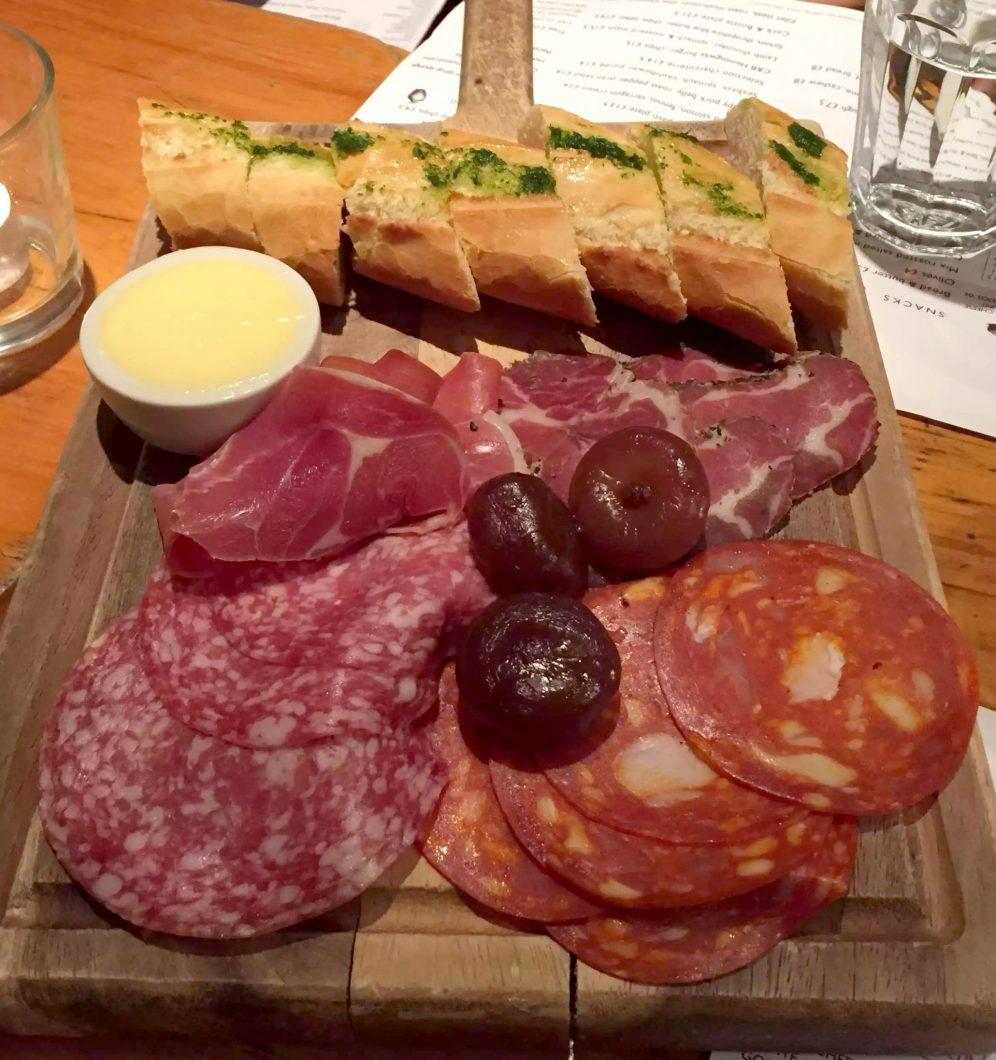 Cork & Bottle Leicester Square London Birthday Dinner Restaurant Wine Antpasti Charcuterie Salami Chorizo Bresaola