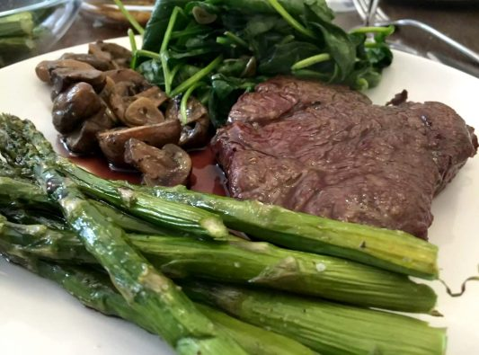 Steak Supper Butcher Beef Fillet Ribeye Red Wine Jus Asparagus Spinach Mushrooms Garlic Potato Wedges SCD Paleo Caveman Wine