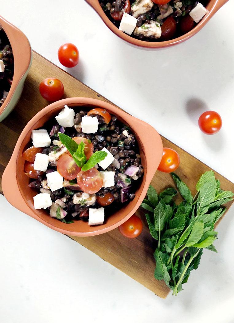 Lentil Feta Mint Salad