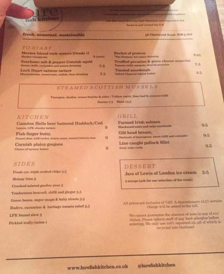 Lure Fish Kitchen North London Kentish Town Seafood Restaurant Menu
