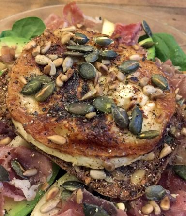 Pear Prosciutto Goat's Cheese Salad Recipe Gluten Free Grain Free SCD Paleo Bread Nut Seeds Healthy Avocado Spinach Honey