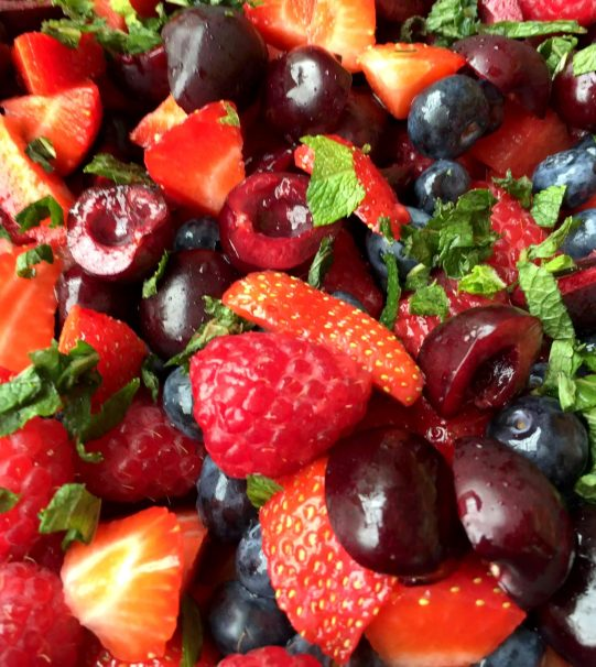 Watermelon Strawberry Cherry Mint Blueberry Raspberry Lime Honey Fruit Salad