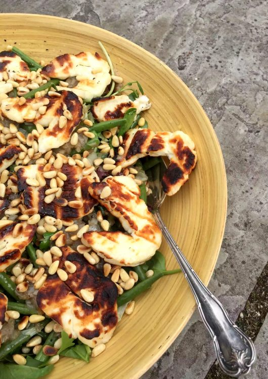 Grilled Halloumi, French Beans, Caramelised Shallots, Pine Nuts Salad Lime Dressing SCD Grain-Free Gluten-Free Paleo Clean Eating