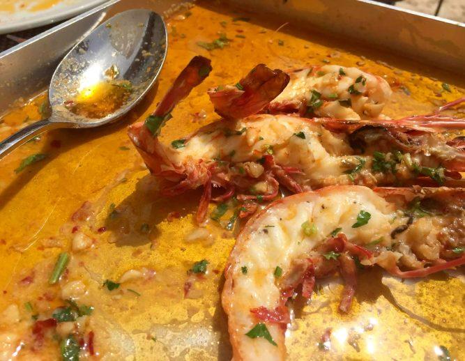 2Passos - Praia d'Ancao -Algarve - Portugal - Lunch Prawns Garlic Chilli